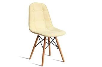 PU Leather Padded Eames Dining Chairs in CREAM 4pcs