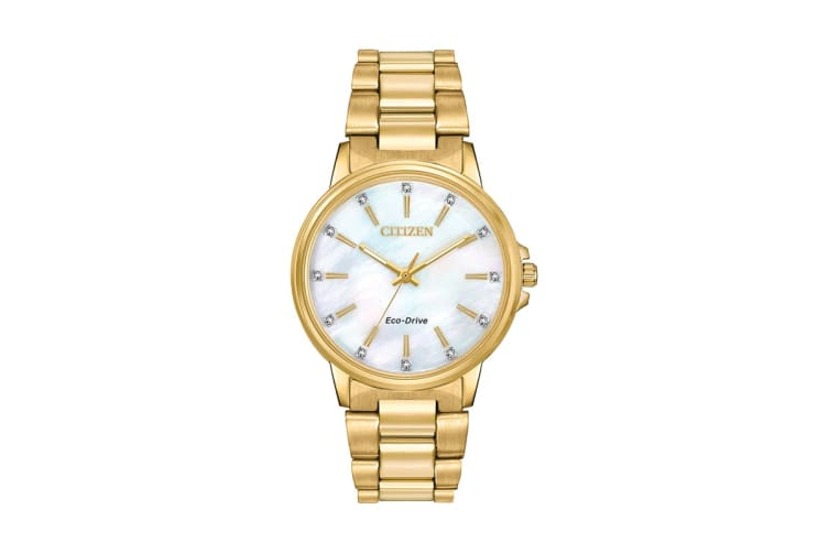 Citizen Ladies' Eco-Drive Watch with Swarovski Crystals - Mother of Pearl/Stainless Steel Gold (FE7032-51D)