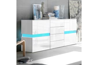 Buffet Sideboard Cabinet Chest of Drawers High Gloss LED Cupboard