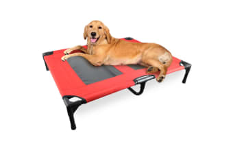 PawZ Heavy Duty Pet Bed Trampoline Dog Puppy Cat Hammock Mesh  Canvas L Red
