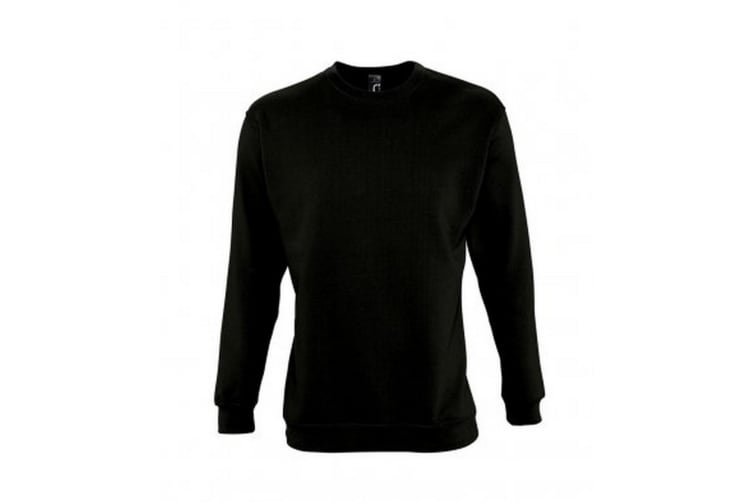 SOLS Mens Supreme Plain Cotton Rich Sweatshirt (Black) (XXL)
