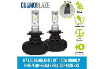 Cosmoblaze H7 LED Headlights Kit 100W 8000LM High or Low Beam Seoul CSP Chips Fanless Elinz