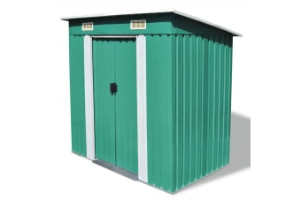 vidaXL Garden Shed Green Metal