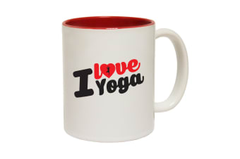 123T Funny Mugs - I Love Yoga - Red Coffee Cup