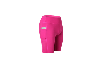 Women'S Stretch Running Workout Shorts With Pocket - Rose Red Red L