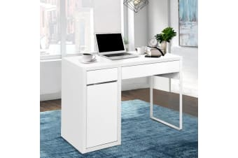 Office Computer Desk Study Table Home Metal Storage Cabinet White