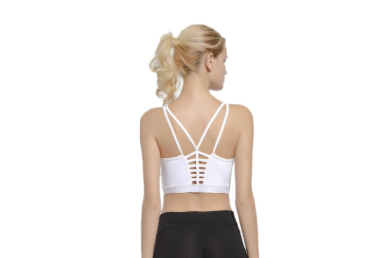 Women'S Support Strappy Back Wirefree Removable Cups Yoga Sports Bra White M