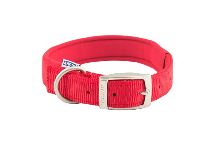 Ancol Pet Products Heritage Padded Dog Collar (Red) (50-59cm (Size 7))