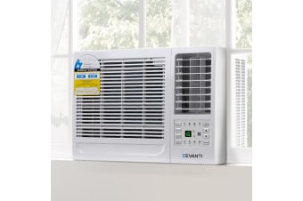 Devanti 1.6kW Window/Wall Air Conditioner Portable Air Conditioners Cooler w/o Reverse Cycle Cooling Only 3 Speeds Swing Timer Mode Home Office