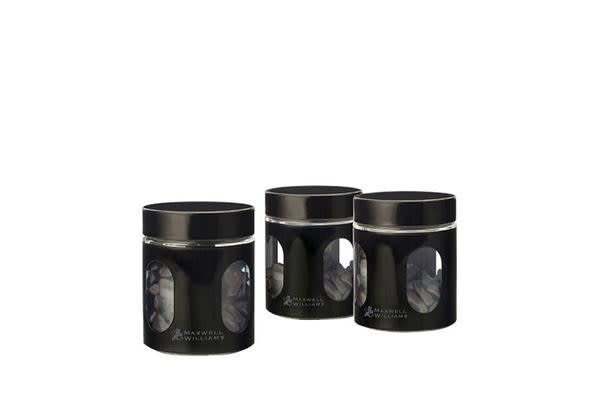 Maxwell & Williams Cosmopolitan Colours Canisters 600ml Set of 3 Black