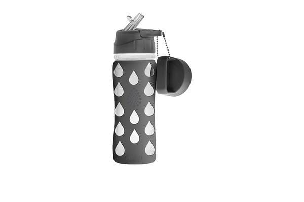 Avanti Silicone Covered Glass Drinking Bottle Grey 700ml