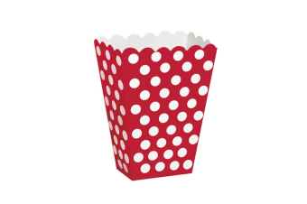 Unique Party Polka Dot Popcorn/Sweet Boxes (Pack Of 8) (Ruby Red) (One Size)