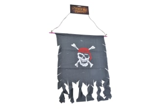 Bristol Novelty Skull And Crossbones Distressed Pirate Banner (Dark Grey/White/Red)