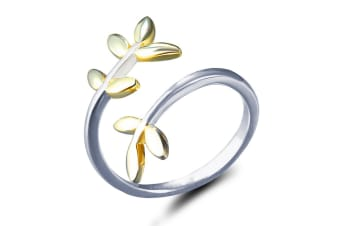 .925 Dainty Leaf Chuckle Ring-Dual Tone Adjustable Size