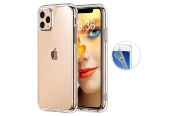 "Apple iPhone 11 Pro Max (6.5"") Ultra Slim Premium Crystal Clear TPU Gel Back Case by MEZON – Wireless Charging Compatible – With Screen Protector (iPhone 11 Pro Max, Gel)"
