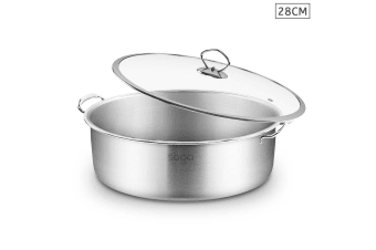 SOGA Stainless Steel 28cm Casserole With Lid Induction Cookware