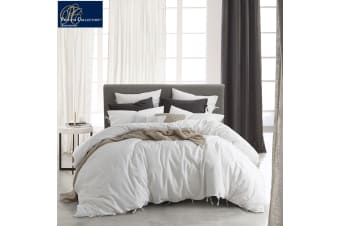 Linen Cotton Versai White Quilt Cover Set or European Pillowcases by Private Collection