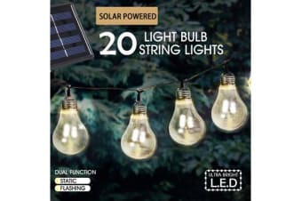 20 LED Solar Powered String Lights Warm White Clear Blub