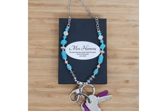 Teacher Lanyard Key holder Necklace - Teal