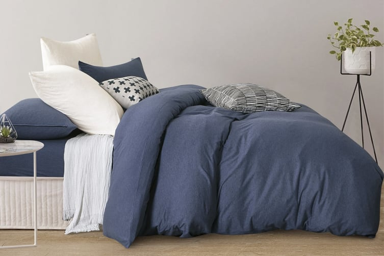 Gioia Casa Jersey Cotton Quilt Cover (Queen/Blue Marble)