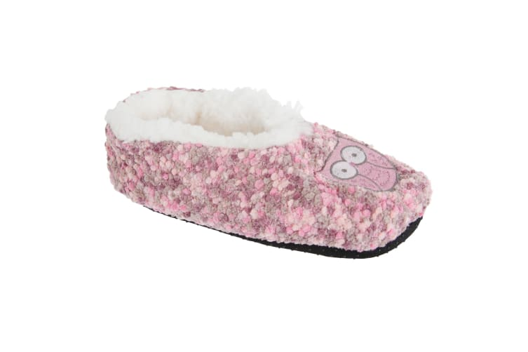 Slumberzzz Womens/Ladies Animal Microbobble Fluffy Slippers (Pink) (7/8)