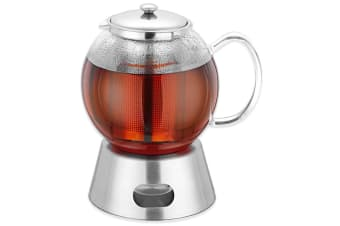 Avanti 1.3L 5 Cup Glass Teapot w  Stainless Steel Tea Light Warmer Base Infuser