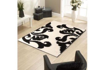 Damask Pattern Shag Runner Rug White Black