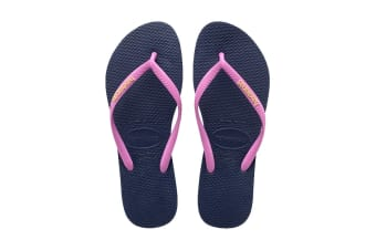 Havaianas Slim Logo Pop Up Thongs (Navy Blue/Ice Pink)