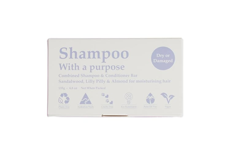 Clover Fields Shampoo with a Purpose Bar (shampoo & conditioner) Dry or Damaged 135g