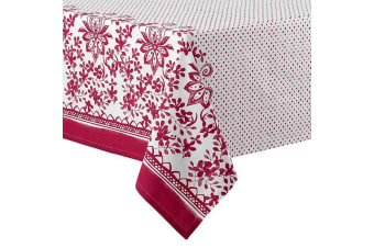 Ladelle Watercolour Floral Tablecloth -  Red 2.65m