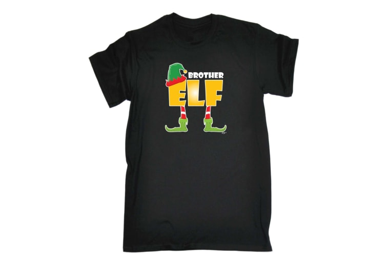 123T Funny Tee - Elf Brother - (X-Large Black Mens T Shirt)