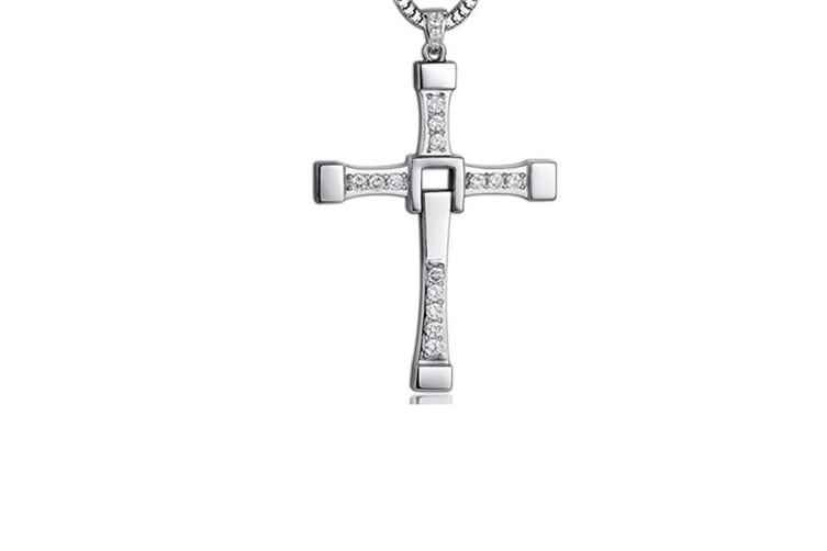 the Fast and the Furious Dominic Torettos Cross Pendant Chain Necklace Silver