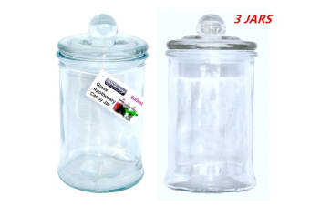 3 x Glass Apothecary Candy Lolly Buffet Jar Candle Making Waxing Wedding Party 660ML