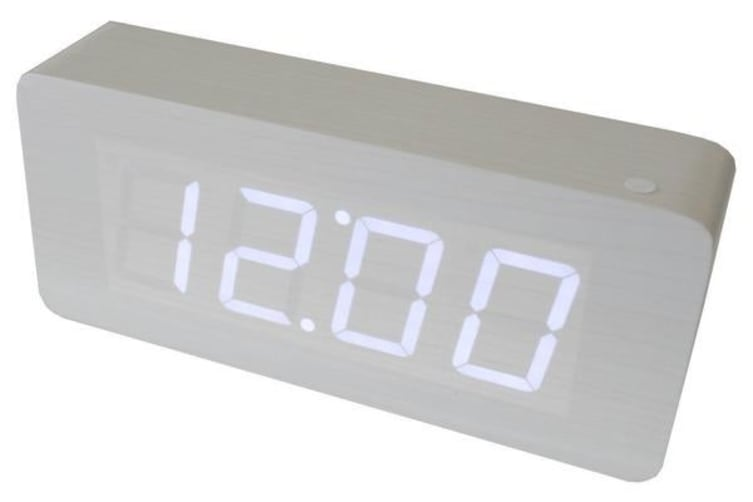 White Led Wood Grain Alarm Clock Temperature Display  Battery Wooden White 6016