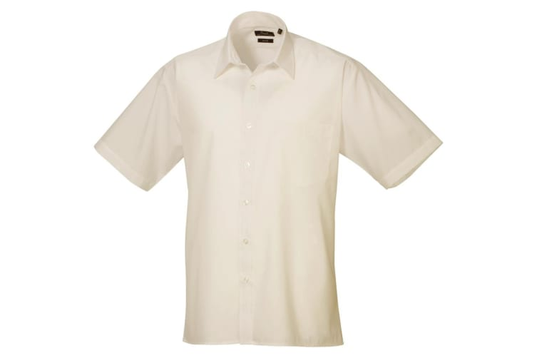 Premier Mens Short Sleeve Formal Poplin Plain Work Shirt (Natural) (16)