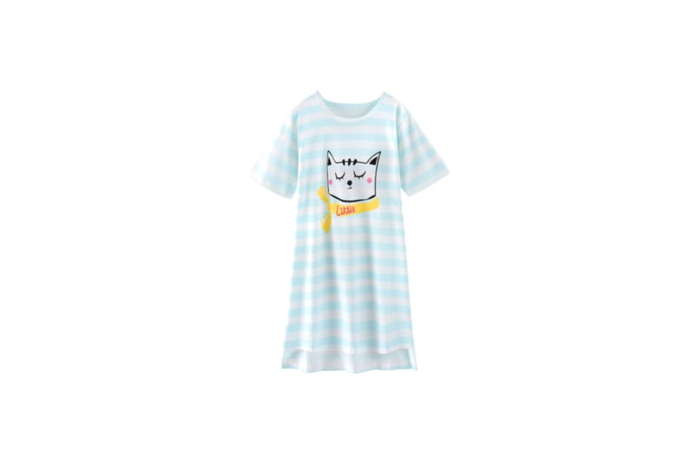 Nightgowns For Girls Cotton Pajamas Dresses Short Sleeve - 3 Blue 130Cm