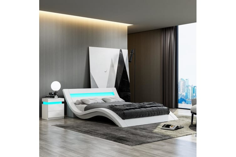 Modern White Leather Bed Frame with LED   Queen