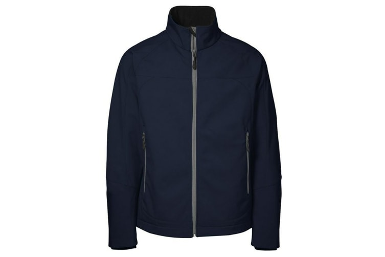ID Mens Functional Full Zip Fitted Soft Shell Jacket (Navy) (M)
