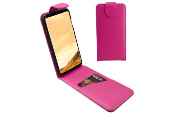 For Samsung Galaxy S8 PLUS Case iCL Vertical Flip Genuine Leather Magenta