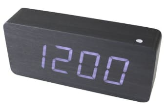 White Led Wood Grain Alarm Clock Temperature Display Mains Battery Black 6016