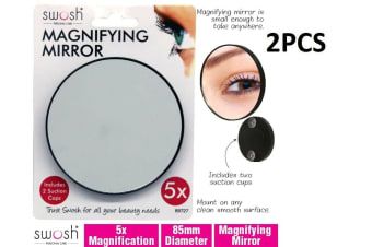2PC 5X Magnify 9cm Magnifying Round Mirror Cosmetic Suction Bathroom Makeup Tool