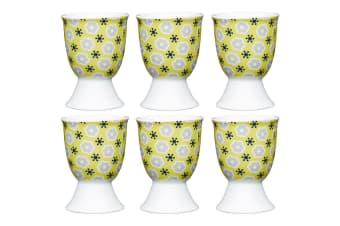 6pc KitchenCraft Floral Yellow Boiled Egg Cup Holder Stand Tableware Servingware