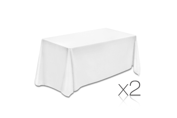 Set of 2 Table Cloths (White) 137 x 244