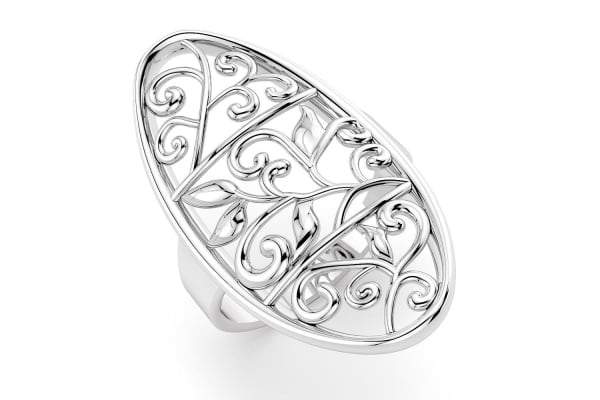 .925 Filigree Fashion Ring-Silver Size US 8