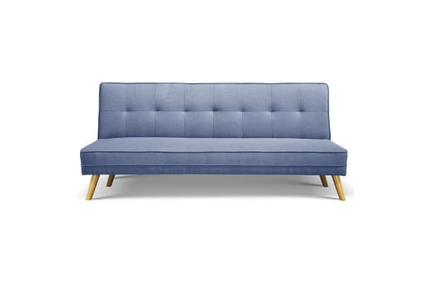 3 Seater Faux Linen Fabric Sofa (Blue)