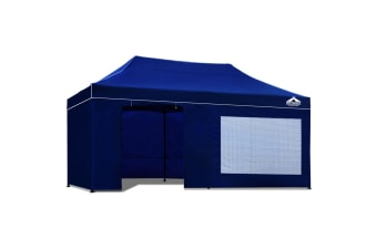 3x6 Pop Up Gazebo Hut with Sandbags (Blue)