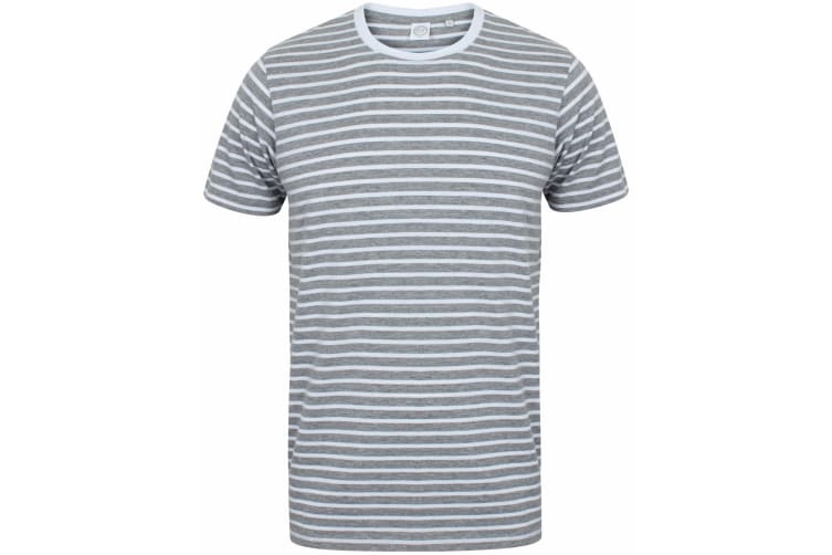 Skinni Fit Unisex Striped Short Sleeve T-Shirt (Heather Grey/White) (S)