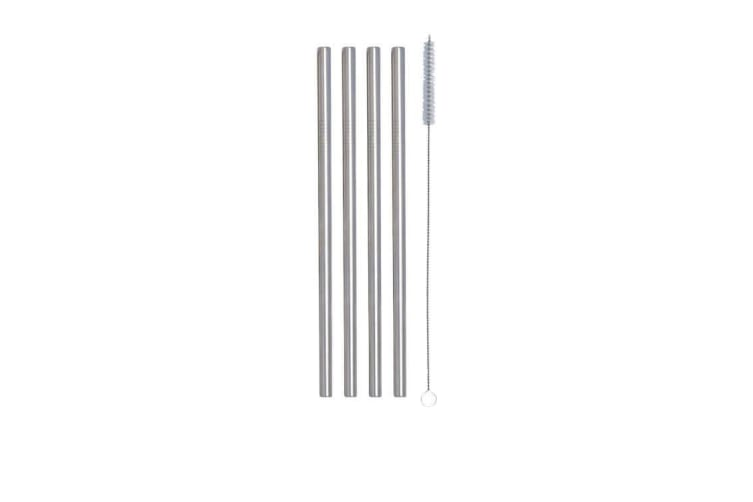 Cuisena Stainless Steel Smoothie Straws w/ Cleaning Brush Straight Set of 4 Silver