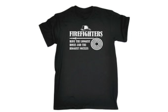 123T Funny Tee - Firefighters Have The Longest Hoses - (3X-Large Black Mens T Shirt)