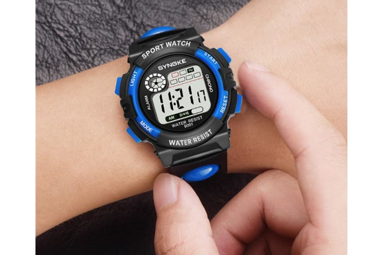 Men'S Electronic Fashion Multifunctional Sports Waterproof Watch Black